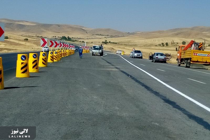 اصلاح دو قوس پرحادثه در جاده بین شهری لالی به اندیکا